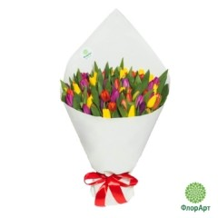 Букет из 101 яркого тюльпана